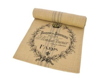 Paris Table Runner, Burlap Runner, French Table Linens, TheWatsonShop