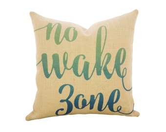 No Wake Zone Throw Pillow, Burlap Nautical Pillow