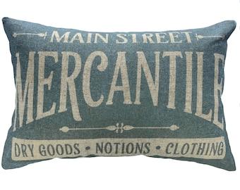 Mercantile Throw Pillow, Blue Typography, Linen Lumbar Pillow