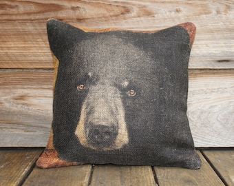 Burlap Pillow of Black Bear, Throw Pillow, Cushion, Rustic Furniture Cabin Lodge Mountain