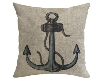 "Nautical Anchor Linen Throw Pillow 15"" x 15"""