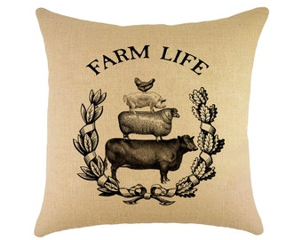 Farm Life Pillow, Farmhouse Throw Pillow, Shabby Cottage, Crest