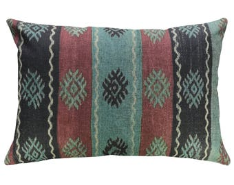 Striped Throw Pillow, Linen Lumbar Pillow, Kilim