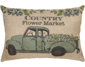 Country Flower Market Burlap Pillow, Truck Lumbar Pillow, Country Farmhouse, 18x12