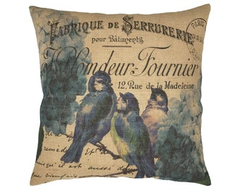 "Blue Birds Burlap Pillow I 18"" x 18"" French Farmhouse Pillow I Grain Sack"