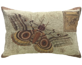 Moth Throw Pillow, Linen Lumbar Pillow, Cottage