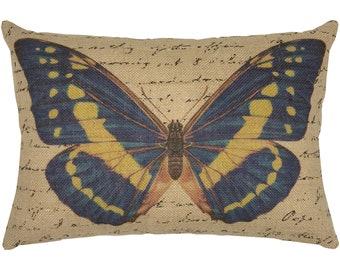 Butterfly Burlap Pillow, Grainsack Lumbar Pillow,  Farmhouse Decor, 18x12