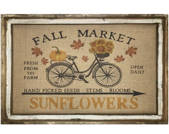 "Sunflowers Wall Art | 24"" x 36"" | Window Frame | Fall Market Decor | Country Farmhouse Decor |"