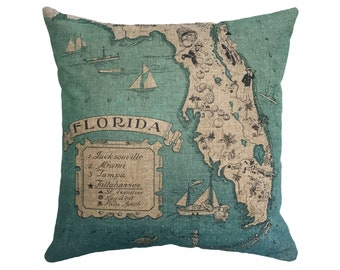 "Blue Florida Map Linen Throw Pillow 15"" x 15"""
