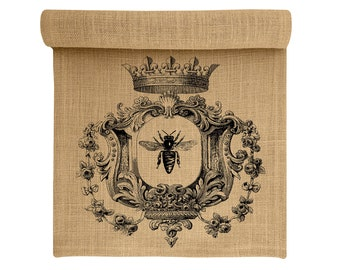 Burlap Table Runner, Bee Burlap Runner, Crown Table Linens, TheWatsonShop