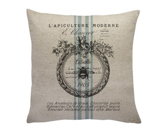 Bee Grainsack Throw Pillow, Linen Pillow, Cottage Chic