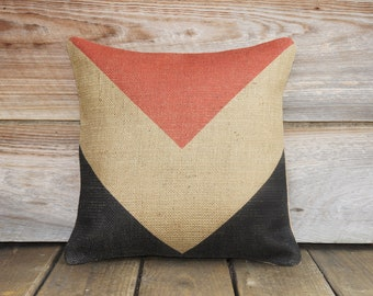 Chevron Pillow, Decorative Throw Pillow, Red Beige Black, Burlap Cushion, Accent Pillow