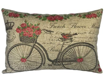 Bike with Roses Throw Pillow, Linen Lumbar Pillow, Cottage