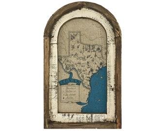 "Texas Map Wall Art | 14"" x 22"" | Arch Window Frame | Linen Wall Hanging | Farmhouse Decor |"