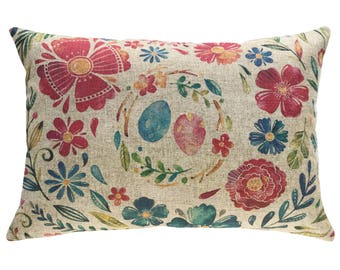 Watercolor Nest Throw Pillow, Linen Lumbar Pillow, Flowers