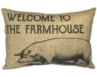 Farmhouse Pig Throw Pillow, Rustic Linen Lumbar Pillow, Farmhouse