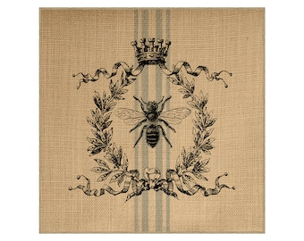 Bee Grainsack Burlap Panel, Reproduction Printed Fabric