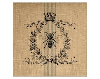 Bee Grainsack Burlap Panel, Reproduction Printed Fabric