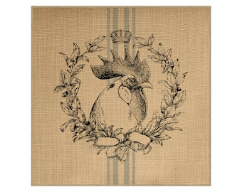 Chicken Grainsack Burlap Panel, Reproduction Printed Fabric
