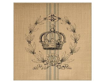 Crown Grainsack Burlap Panel, Reproduction Printed Fabric