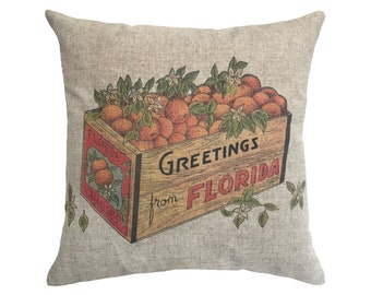 "Florida Oranges Linen Throw Pillow 15"" x 15"""