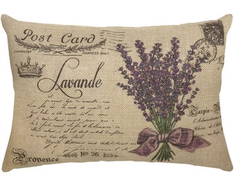 Lavender Pillow, Postcard Burlap Pillow, French Country Lumbar Pillow, Country Farmhouse, 18x12