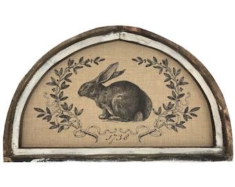 "Bunny Wall Art | 30"" x 18"" | Arch Window Frame | Burlap Wall Hanging | Farmhouse Decor |"