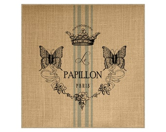 Butterfly Grainsack Burlap Panel, Reproduction Printed Fabric