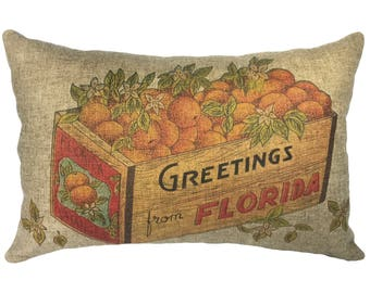 Florida Oranges Throw Pillow, Linen Lumbar Pillow, Nautical