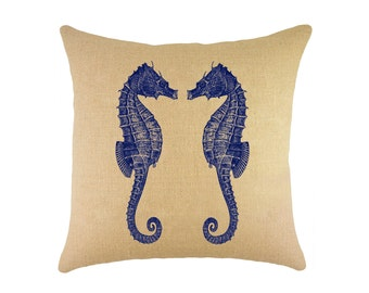 "Navy Seahorses Burlap Pillow 16"", Nautical Cushion"