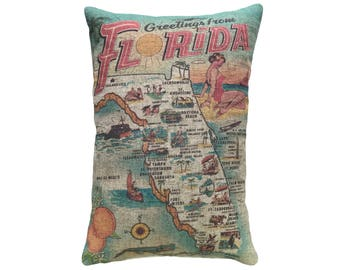 Florida Map Throw Pillow, Linen Lumbar Pillow, Nautical