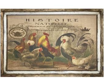 "Chicken Wall Art | 24"" x 36"" | Window Frame | Rustic Decor | Country Farmhouse Decor |"