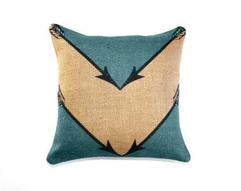 Turquoise Arrow Pillow, Chevron, Geometrical Sagittarius Pillow, Burlap, Decorative Throw Pillow