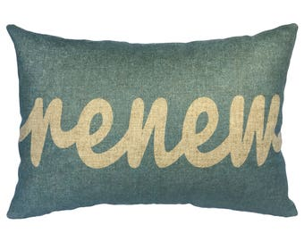 Renew Throw Pillow, Blue Typography, Linen Lumbar Pillow