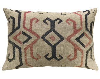 Kilim Throw Pillow, Linen Lumbar Pillow, Worldly