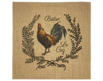 Chicken Burlap Fabric, Printed Fabric Panel for Upholstery and Framing