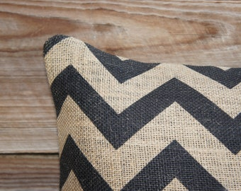 Decorative Throw Pillow of Black Chevron, Burlap Pillow, Accent Pillow, Zig Zag, Cushion, Industrial Decor