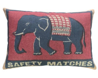 Elephant Throw Pillow, Linen Lumbar Pillow