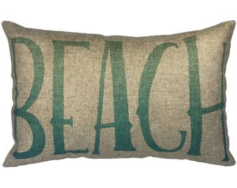 Blue Beach Throw Pillow, Linen Lumbar Pillow, Nautical
