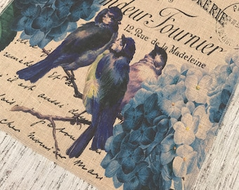 Blue Birds Burlap Panel, French Printed Fabric
