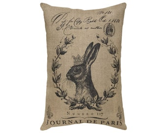 Rabbit Burlap Pillow, French Lumbar Pillow, Grainsack Throw Pillow, 18x12