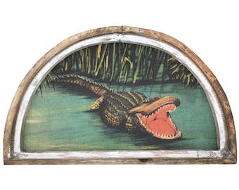 """Gator Wall Art   30"""" x 18""""   Arch Window Frame   Burlap Wall Hanging   Coastal Decor  """
