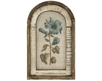 Botanical Wall Art   Farmhouse Decor   Arch Window Frame   Linen Wall Hanging   Blue Mallow Flower