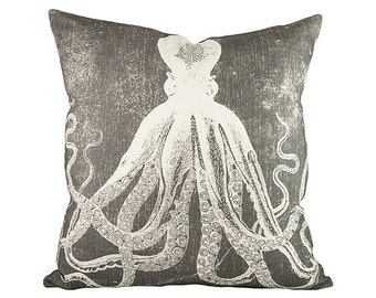 Octopus Throw Pillow, Charcoal Nautical Pillow