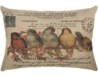 Birds Burlap Pillow I French Farmhouse Decor I Country Decor I  18x12