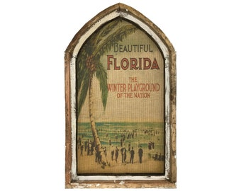 "Florida Wall Art | 18"" x 30"" | Arch Window Frame | Burlap Wall Hanging | Coastal Decor |"