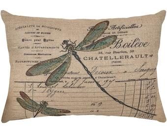 Dragonfly Burlap Pillow, French Lumbar Pillow, Country Farmhouse, 18x12