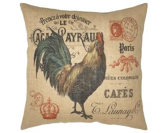 """Chicken Burlap Pillow I 18"""" x 18"""" French Farmhouse Pillow I Grain Sack Pillow"""