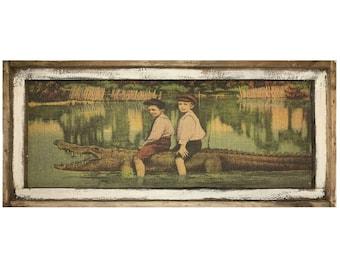 "Alligator Wall Art | 16"" x 36"" | Window Frame | Burlap Wall Hanging | Florida Postcard Decor |"