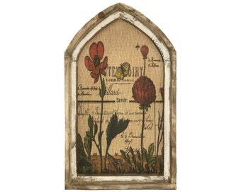 "Botanical Wall Art | 18"" x 30"" | Arch Window Frame | Burlap Wall Hanging | French Farmhouse Decor |"